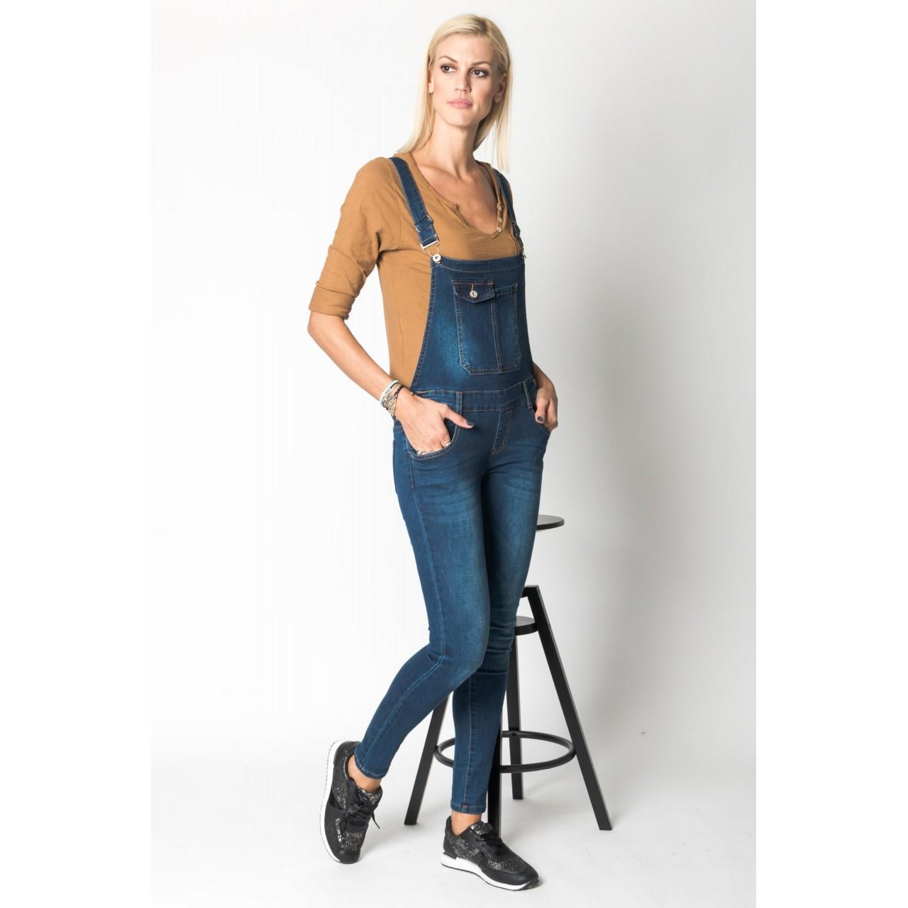 Σαλοπέτα jean ελαστική με τσέπες e3dd774e346