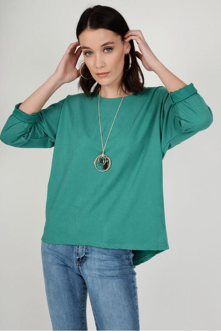 Oversized μπλούζα με κολιέ