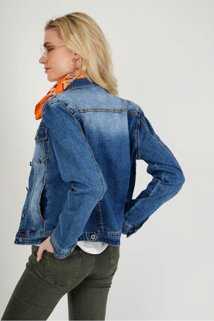Oversized jean jacket με κουμπιά