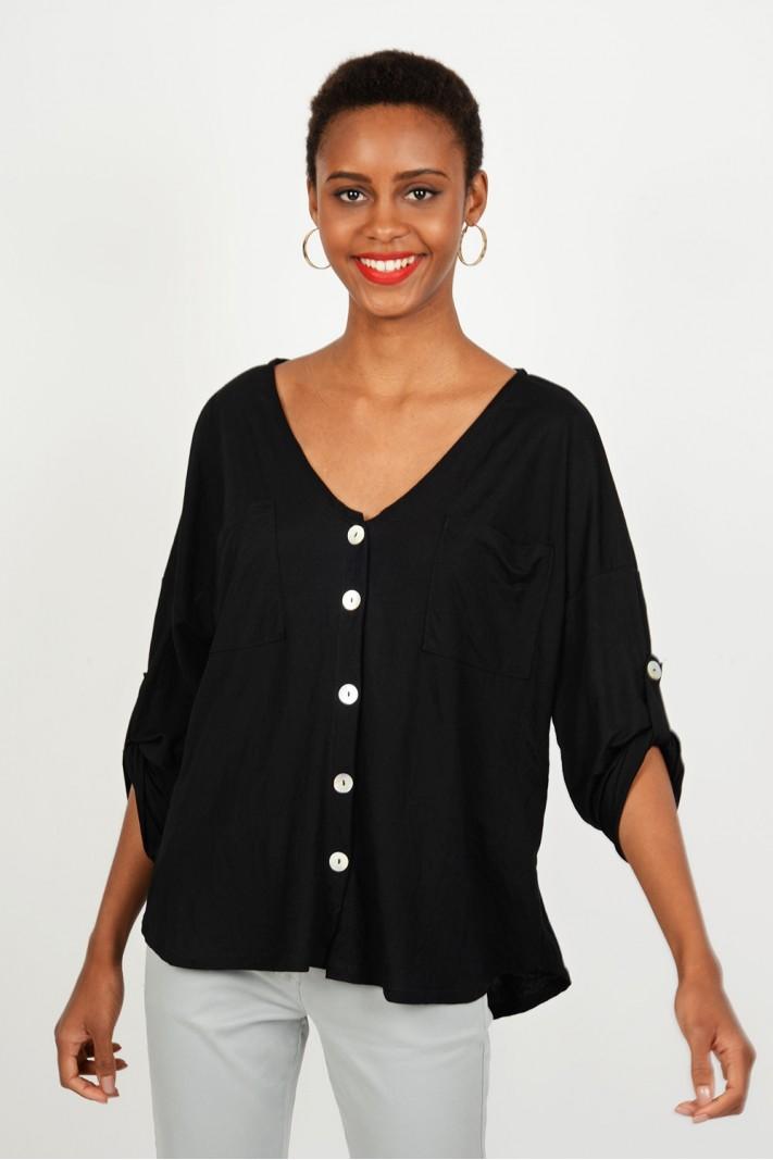 304df41486e6 Oversized μπλούζα πουκαμίσα με κουμπιά