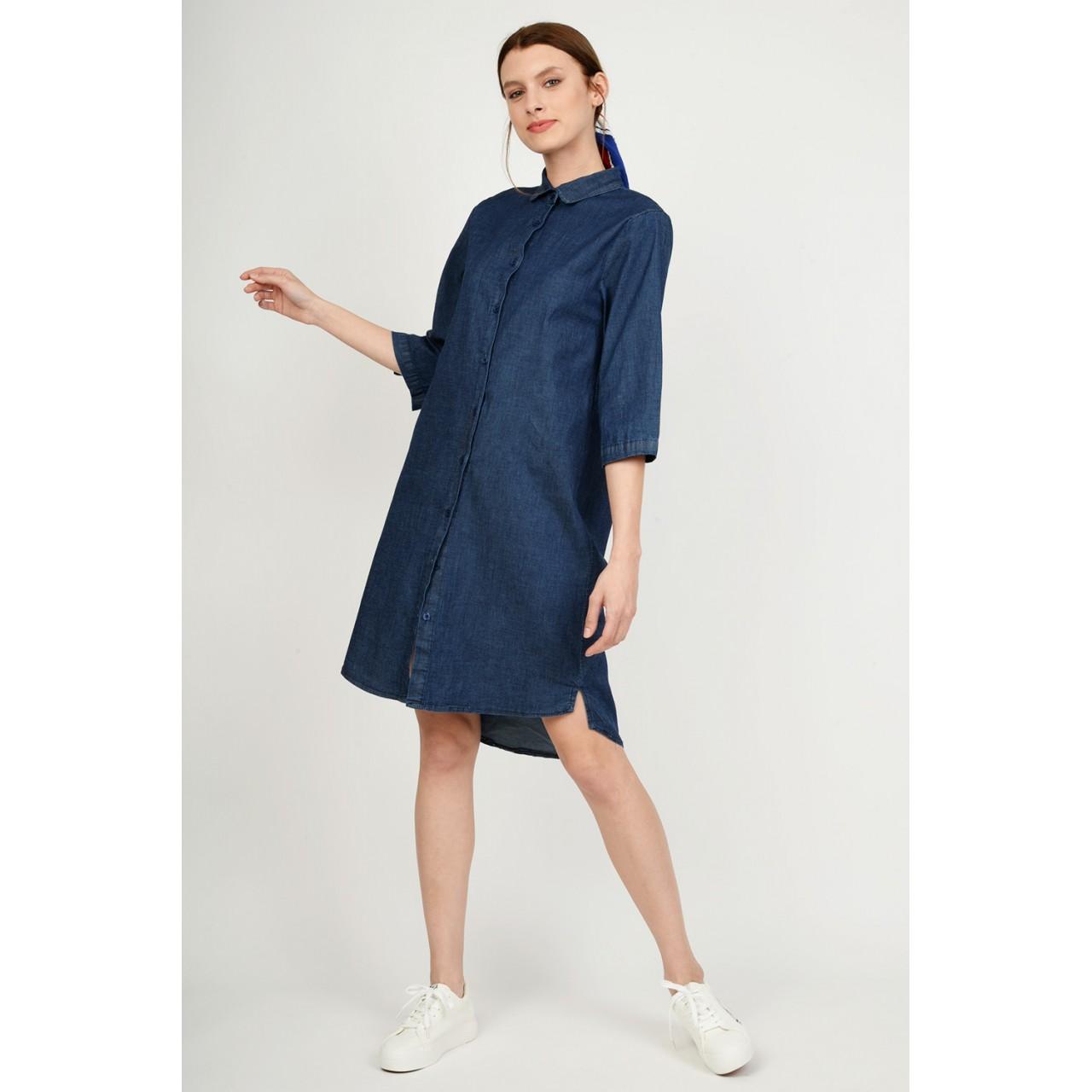 de29e7a9c8b7 Φόρεμα jean midi με κουμπιά Limited Edition