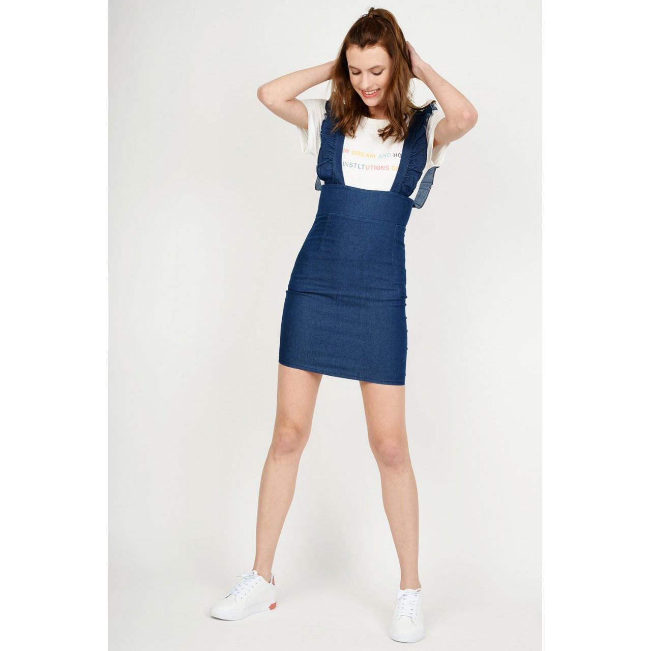 3f24c2cc6020 Σαλοπέτα φούστα jean με τιράντες βολάν