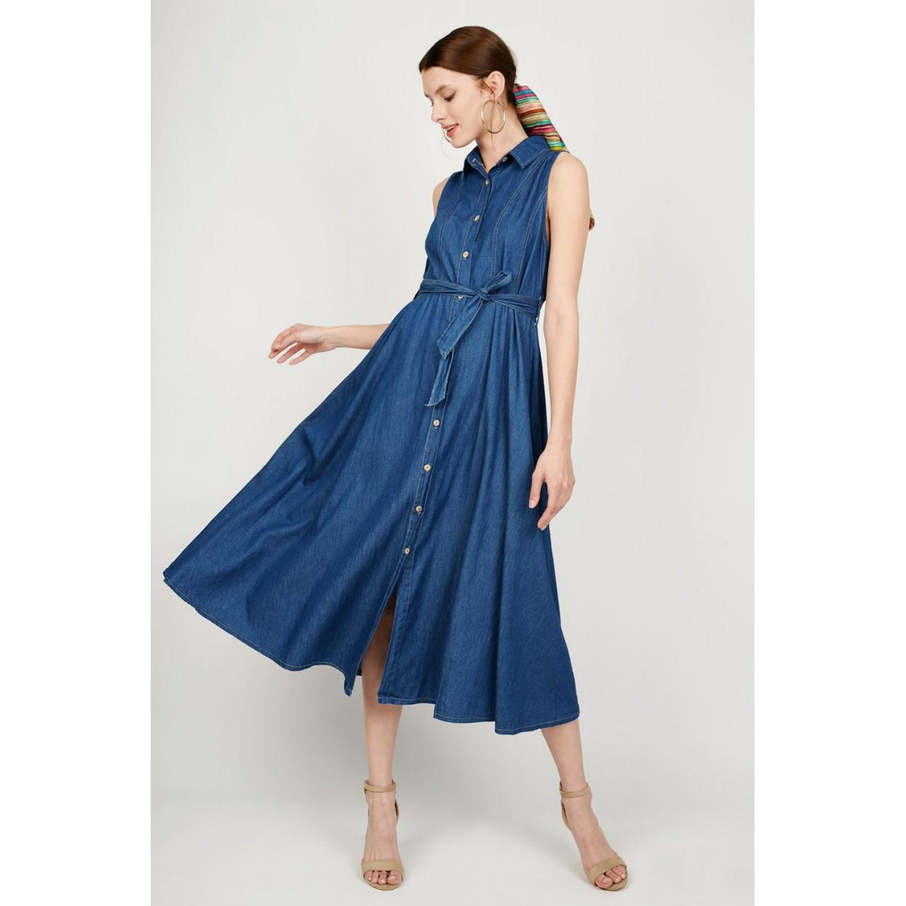 ca1fc2f6994e Φόρεμα jean midi με κουμπιά