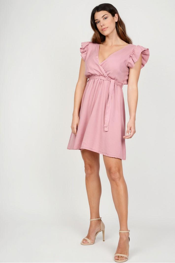 03da77374a3e Φόρεμα κρουαζέ με βολάν μανίκια
