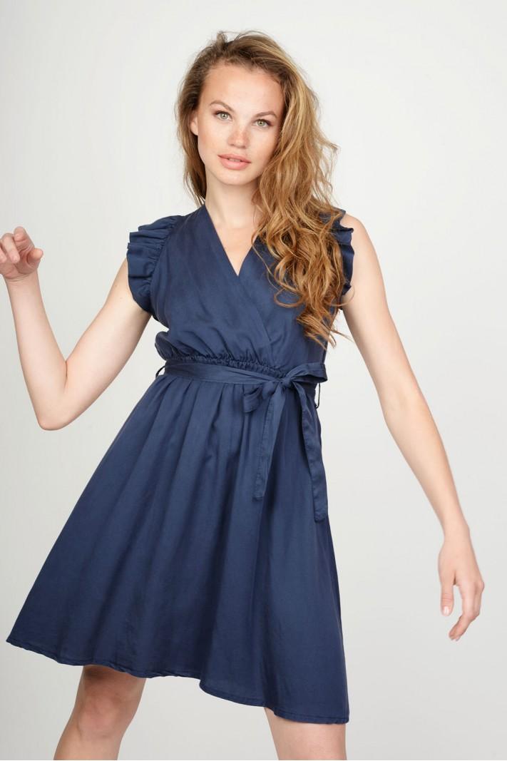 cb9dfcf6baa0 Φόρεμα κρουαζέ με βολάν μανίκια