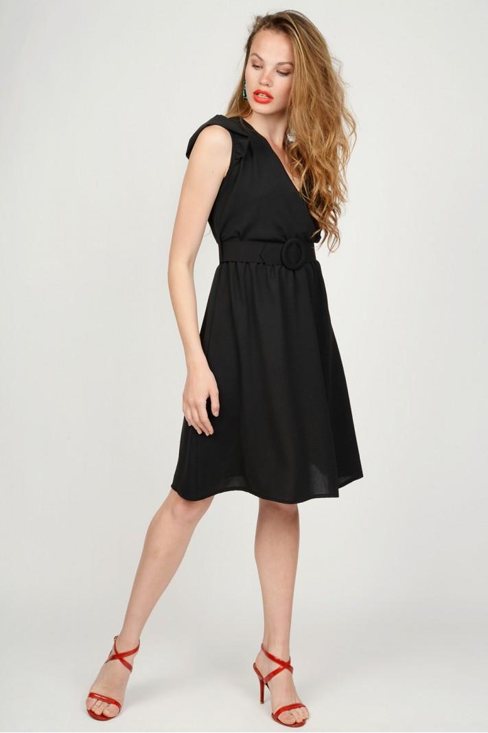 075d7a1ab796 Φόρεμα κρουαζέ με ζώνη