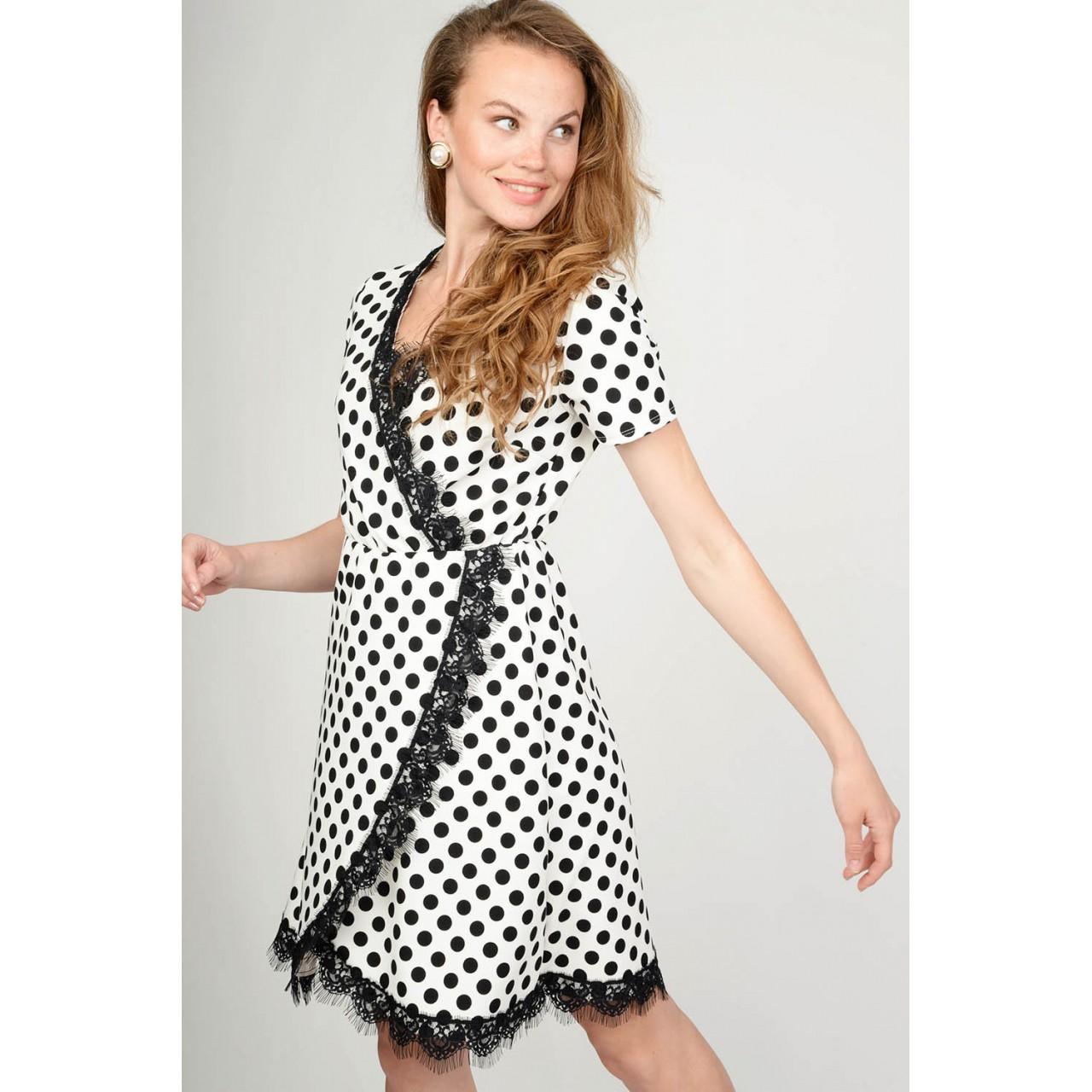 324019b56d4 Φόρεμα πουά κρουαζέ με δαντέλα