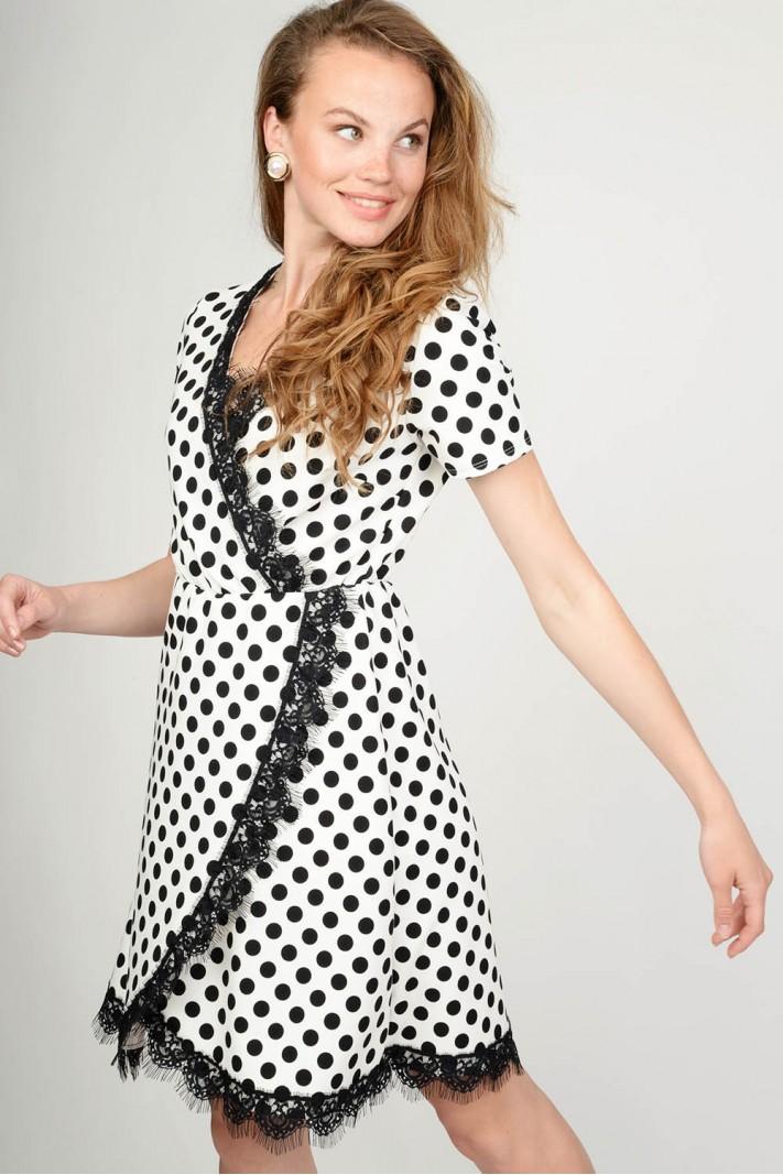 e57d8d267397 Φόρεμα πουά κρουαζέ με δαντέλα