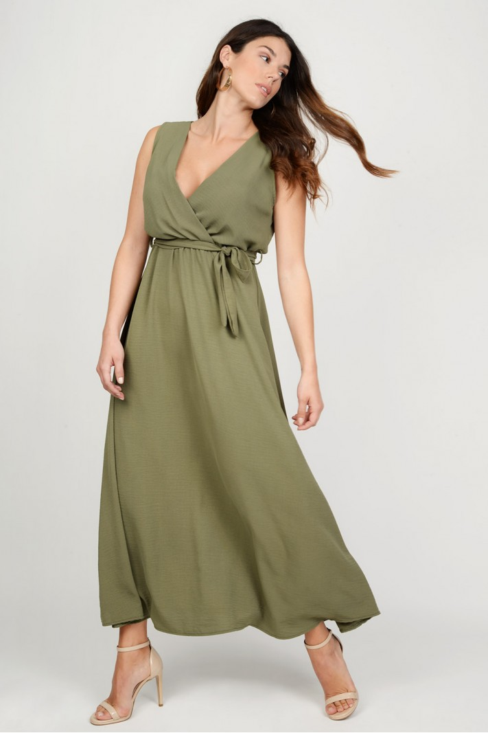 5e9da14ca48f Φόρεμα μακρύ αμάνικο με ζώνη