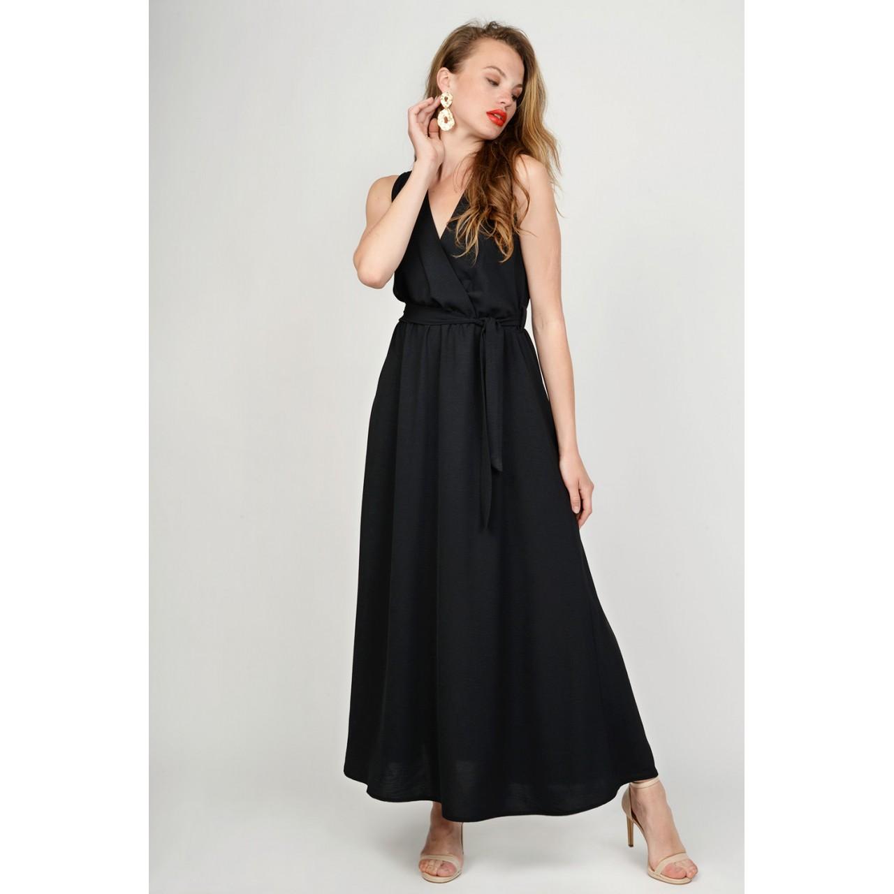 ebfaa3ddf76 Φόρεμα μακρύ αμάνικο με ζώνη