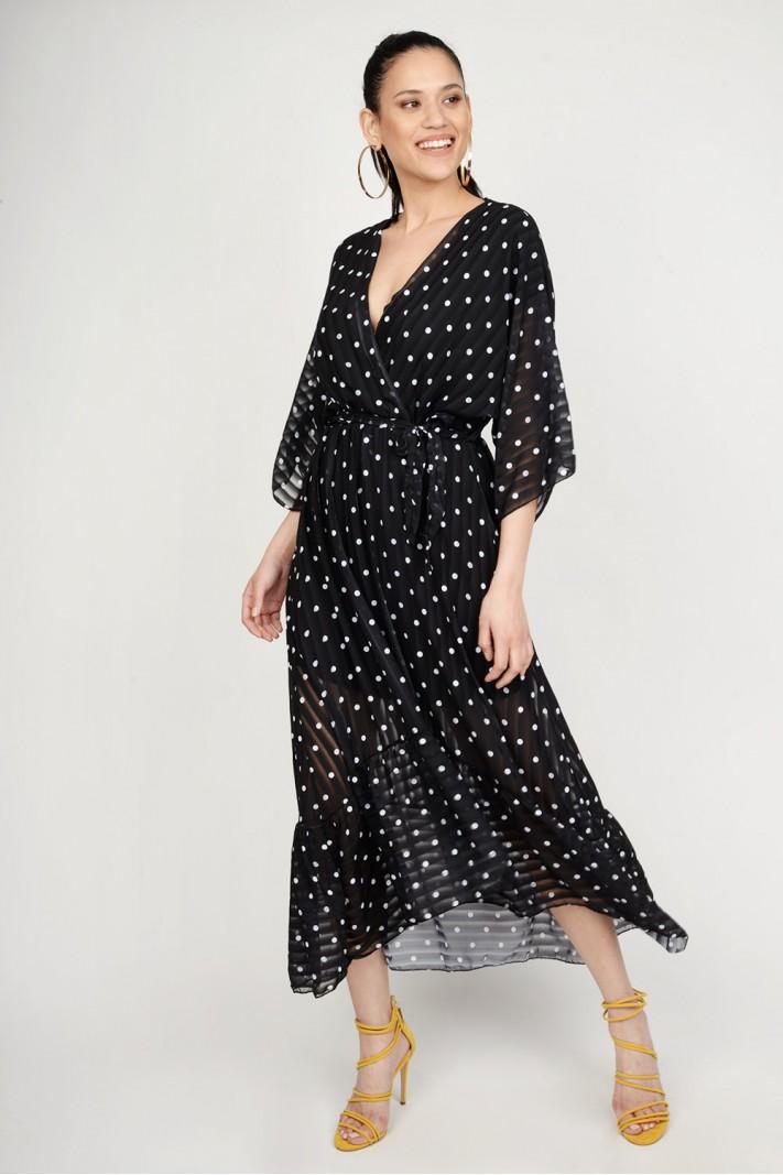 afed27672a9 Φόρεμα ασύμμετρο πουά Limited Edition