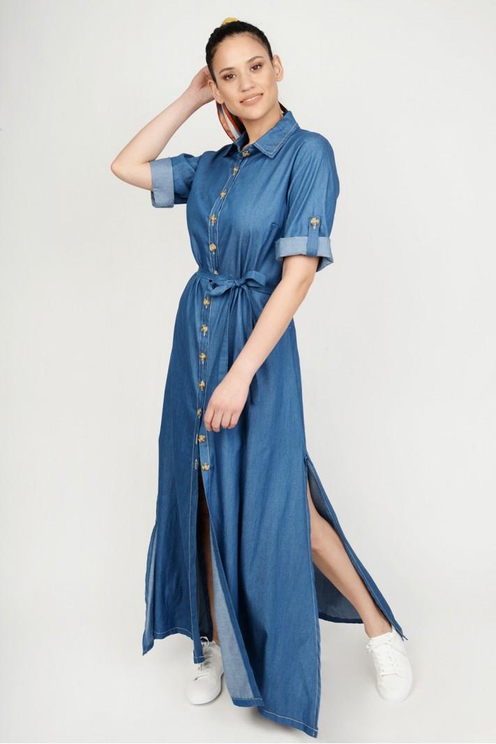 2ea87e73cfb9 Φόρεμα jean maxi με κουμπιά   ζώνη