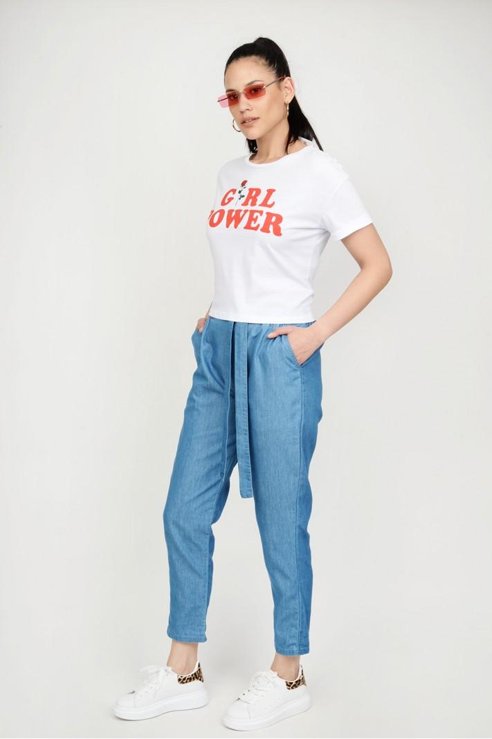 ec08844dc842 Παντελόνα jean με λάστιχο   τσέπες