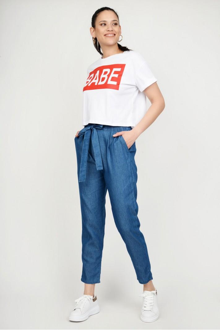 ab6221b3b7fa Παντελόνα jean με λάστιχο   τσέπες