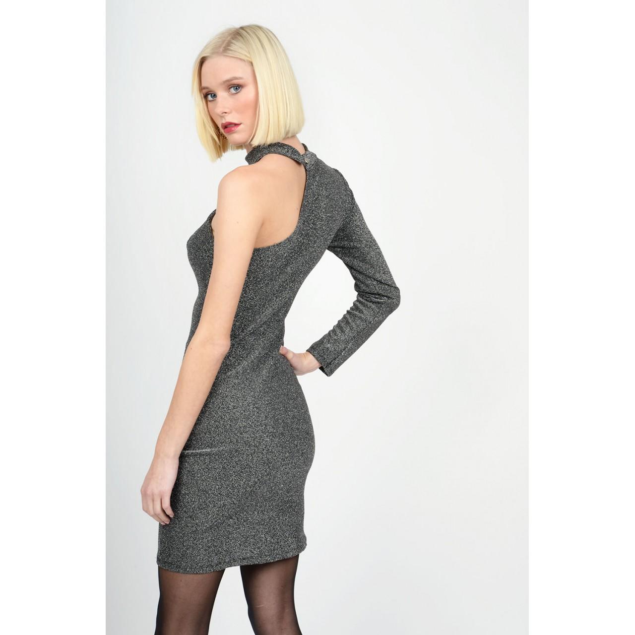 Metallic off shoulder dress