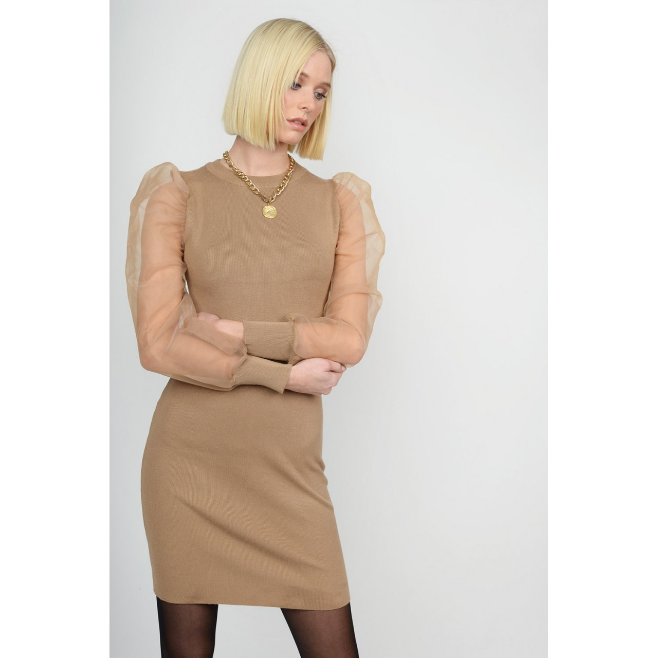Midi knitted dress with trasnparent sleeves Limited Edition