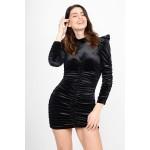 Velvet ruffled dress