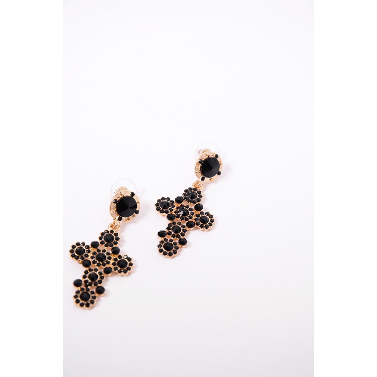 Cross earings with strass