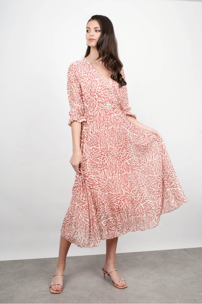 Midi printed dress with belt