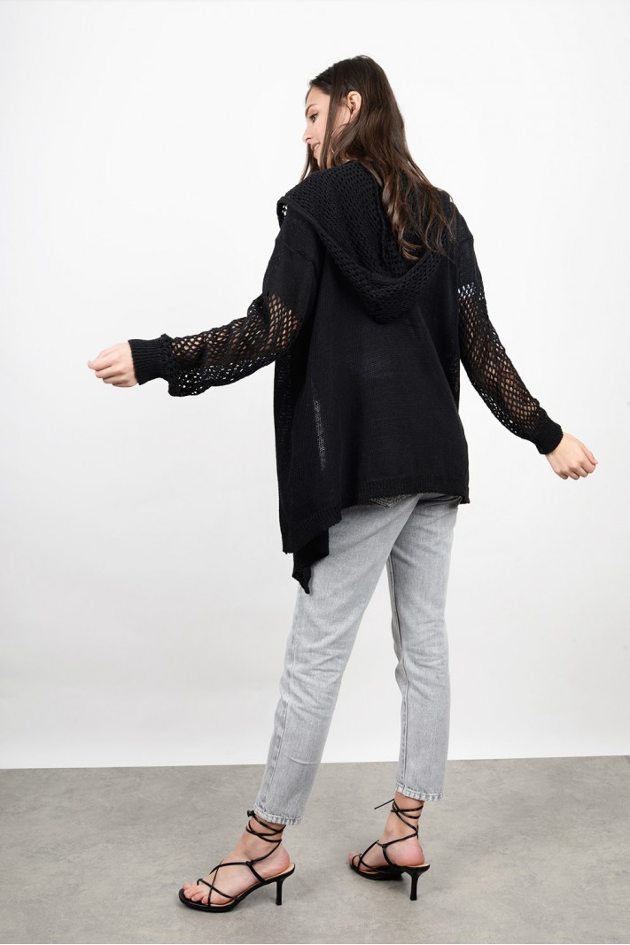 Perforated hooded knitted cardigan