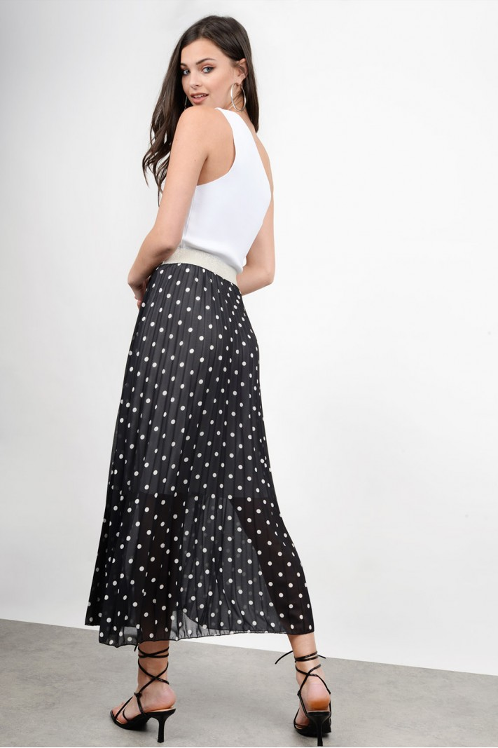 Midi polka dotted skirt