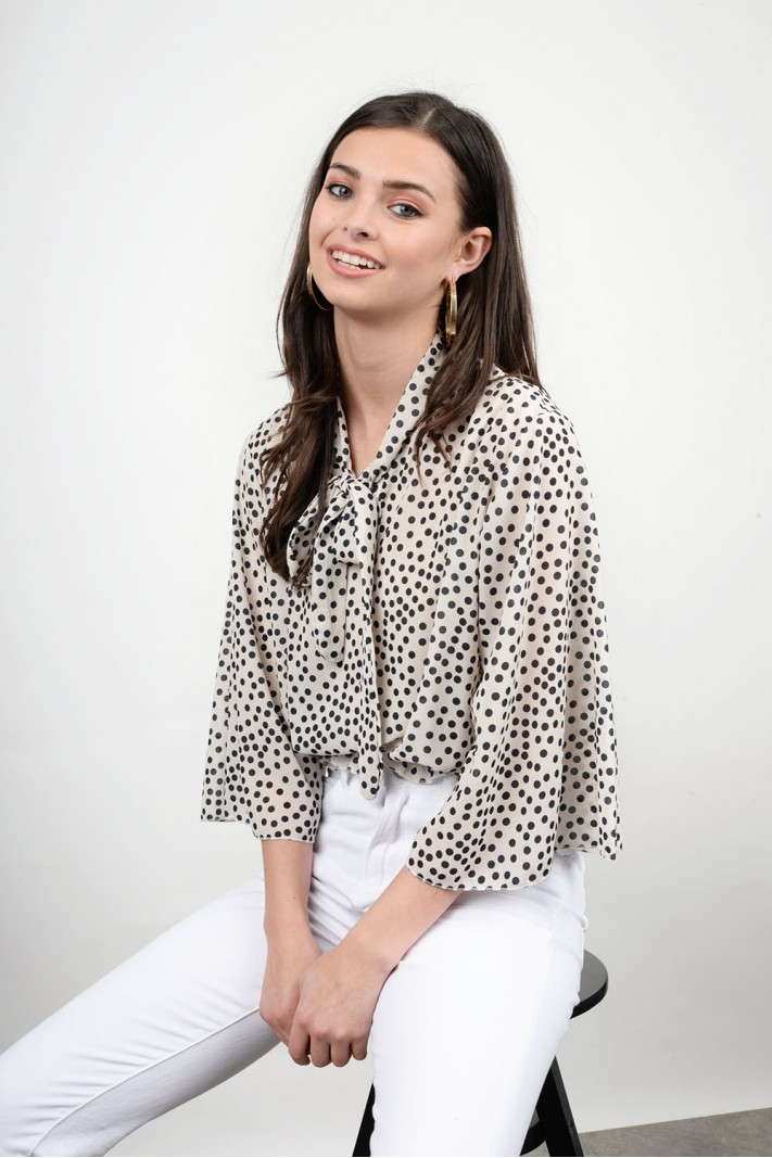 Polka dotted wide sleeved tunic