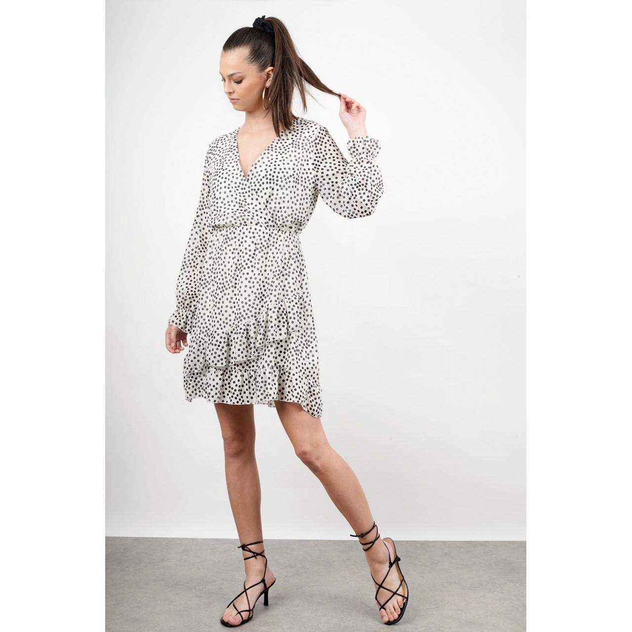 Polka dotted ruffled dress
