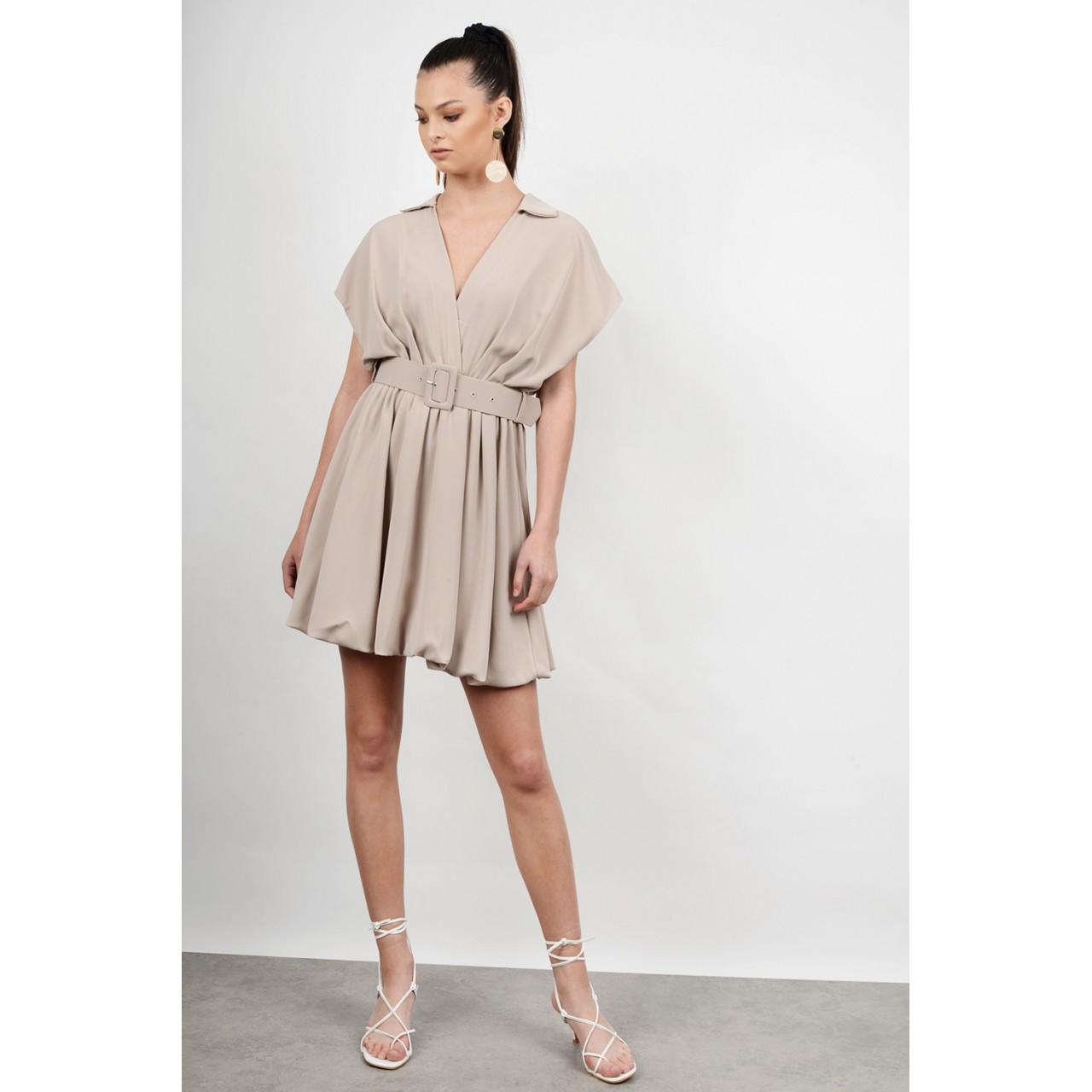 Mini dress with belt