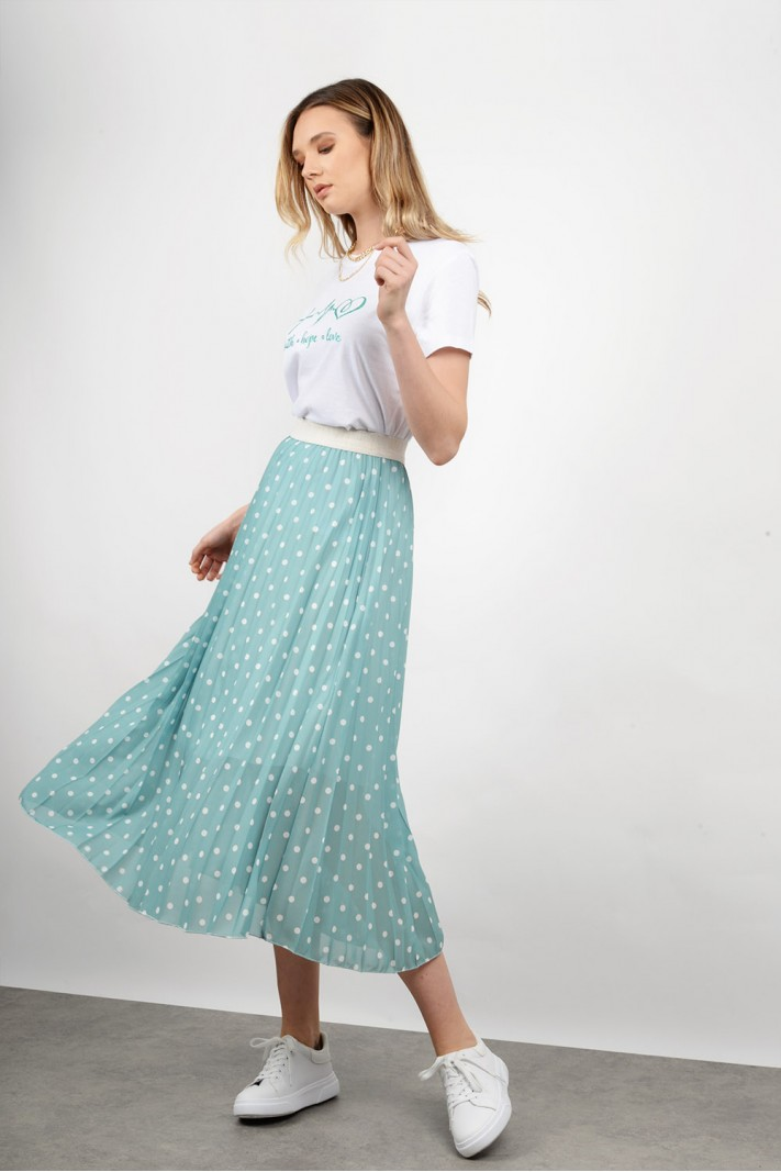 Midi polka dotted skirt