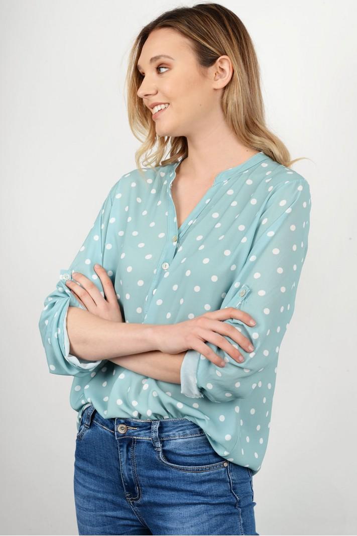 Oversized polka dotted shirt