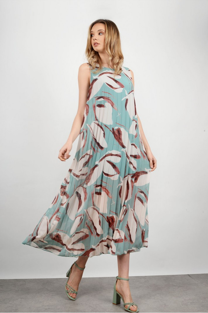 Maxi pleated floral dress