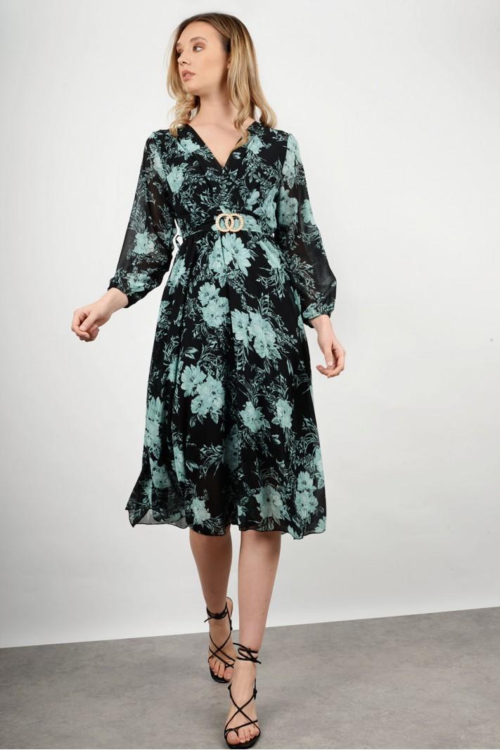 Midi floral dress with belt