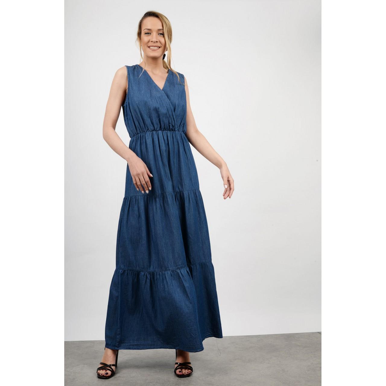 Sleevless maxi jean dress