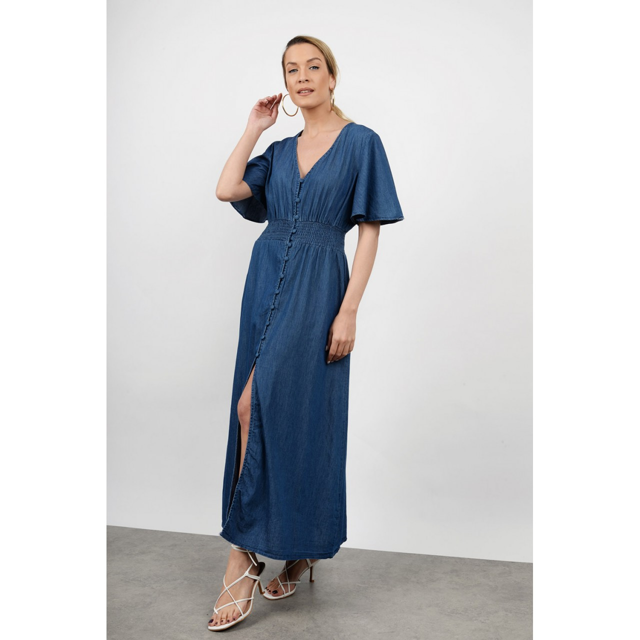 Maxi jean dress with buttons