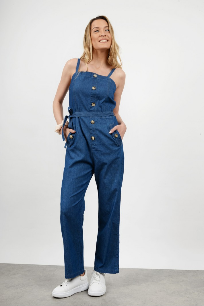 Jean jumpsuit with pockets
