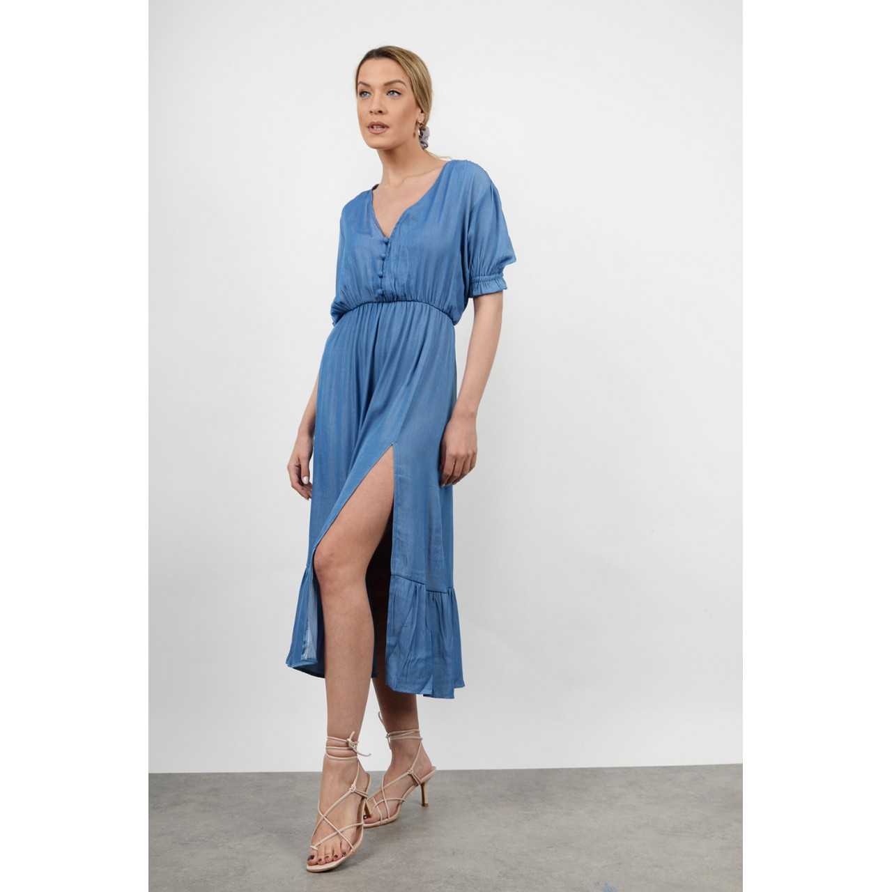 Midi jean dress with opening