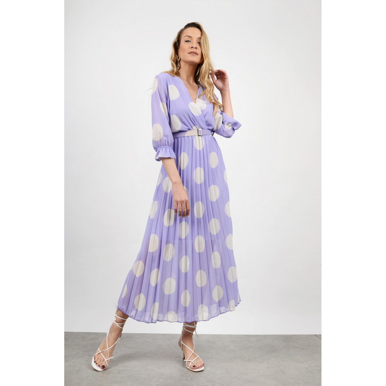 Midi polka dotted dress with belt