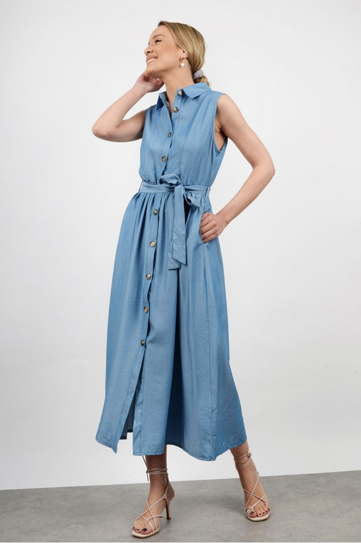 Midi jean dress with buttons