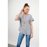 Striped blouse with necklace