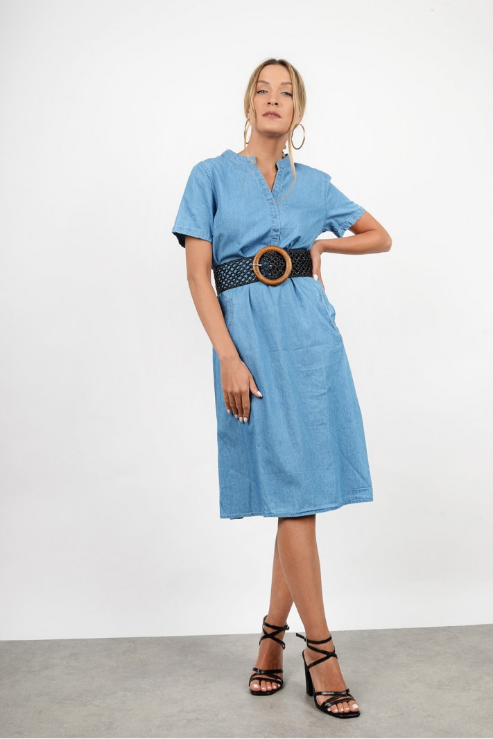Midi jean dress with pockets