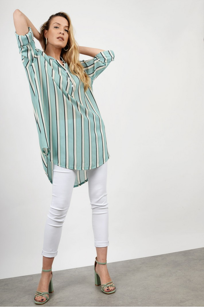 Oversized striped long shirt