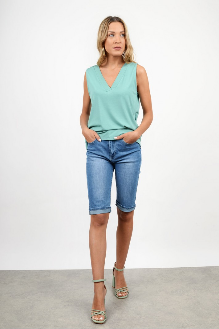 High waist push-up jean bermuda