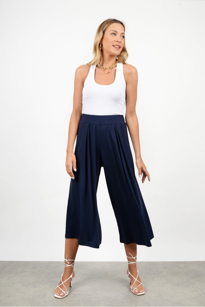 High waist zip culotte pant
