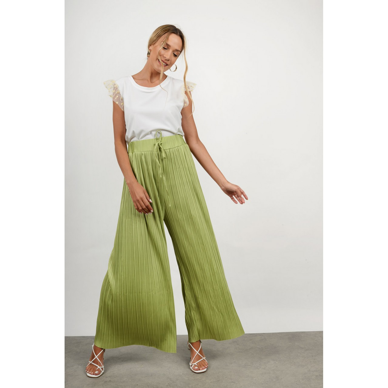 High waist pleated pant