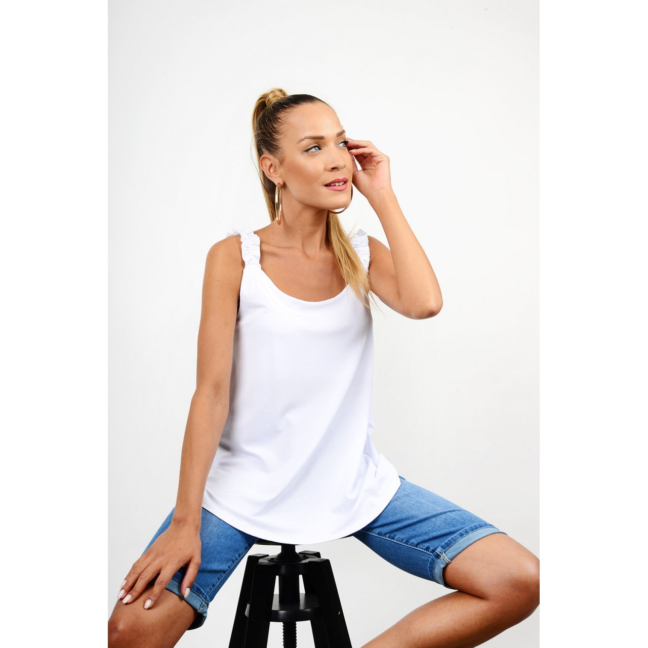 Blouse with ruffled straps