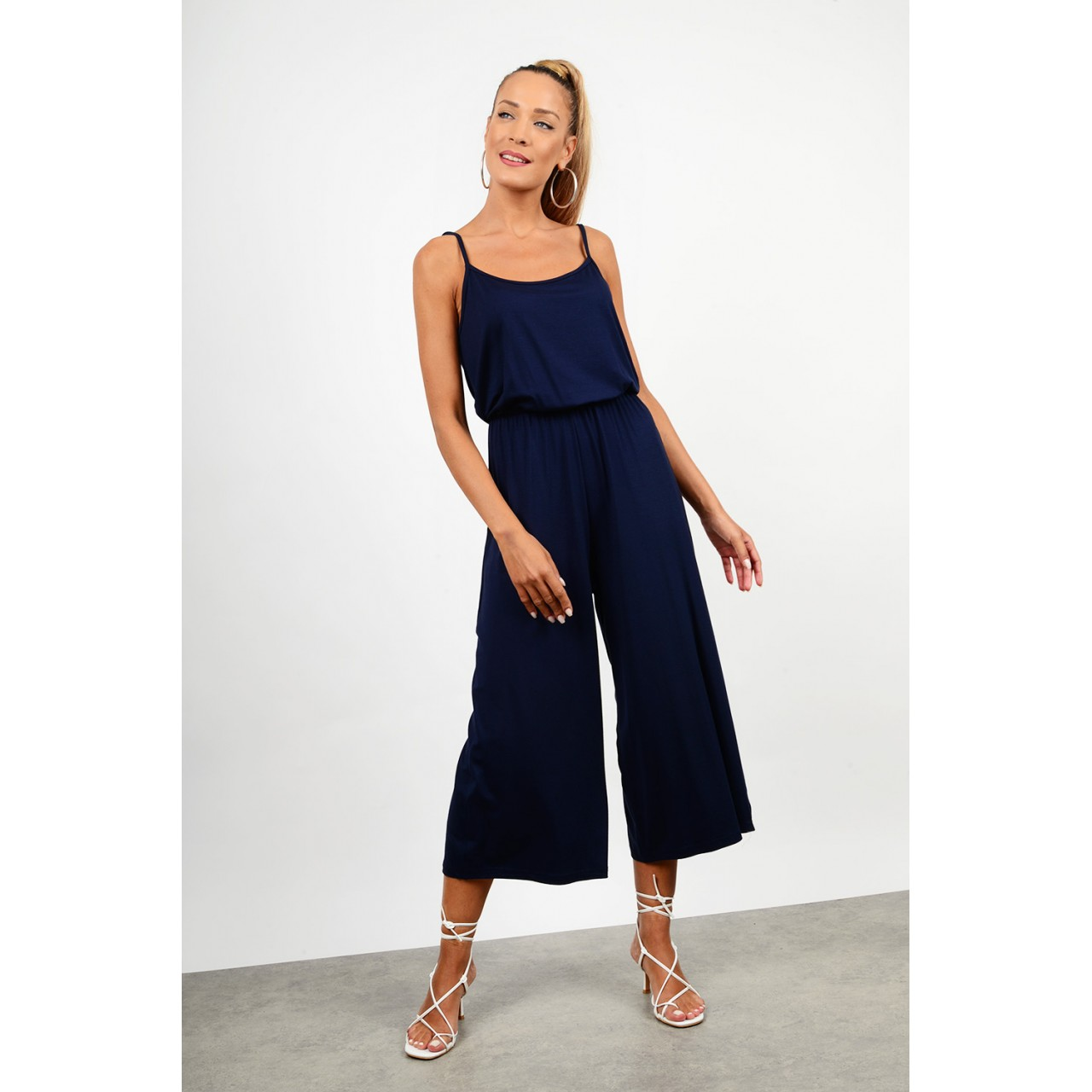 Overall zip culotte with straps