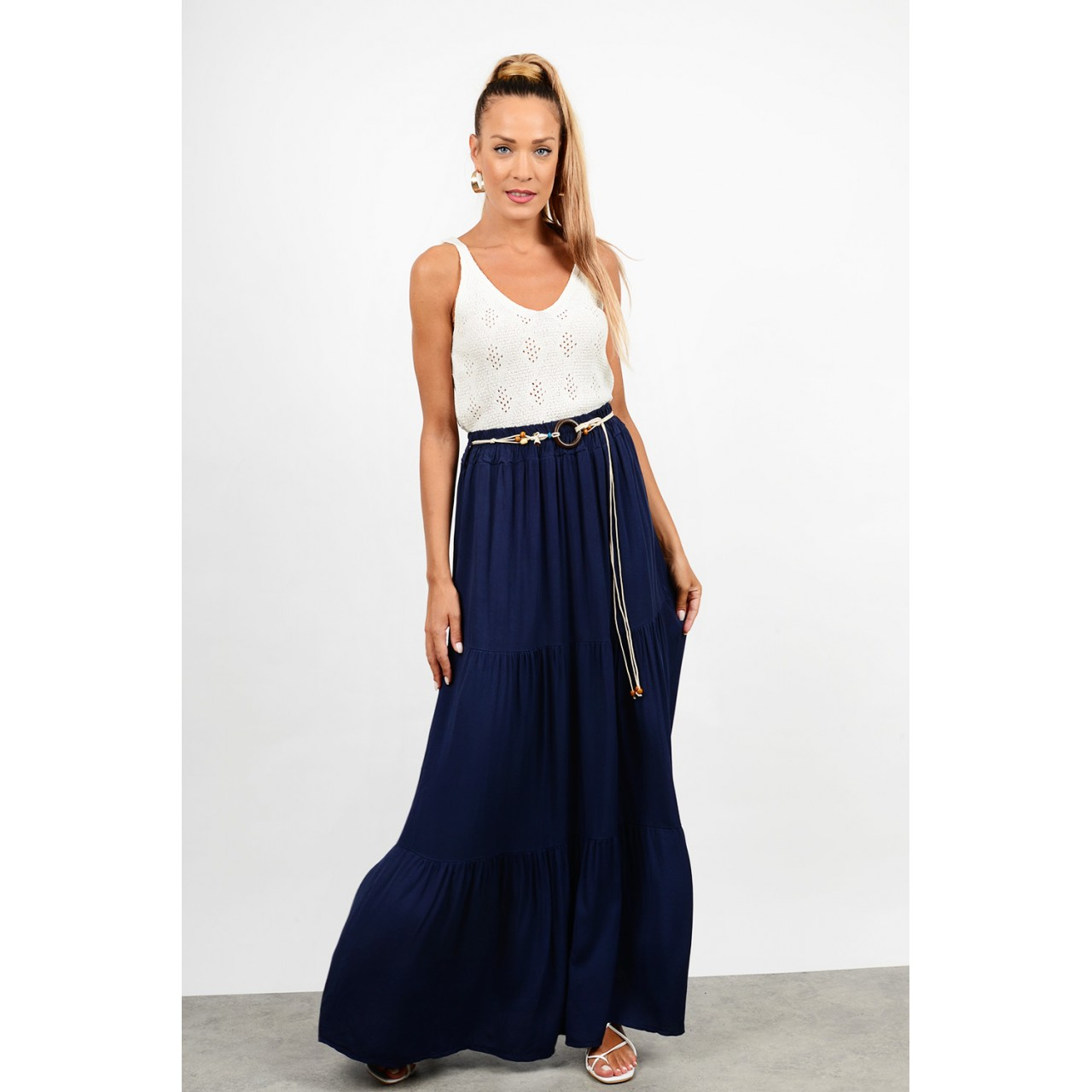 Maxi skirt with elastic