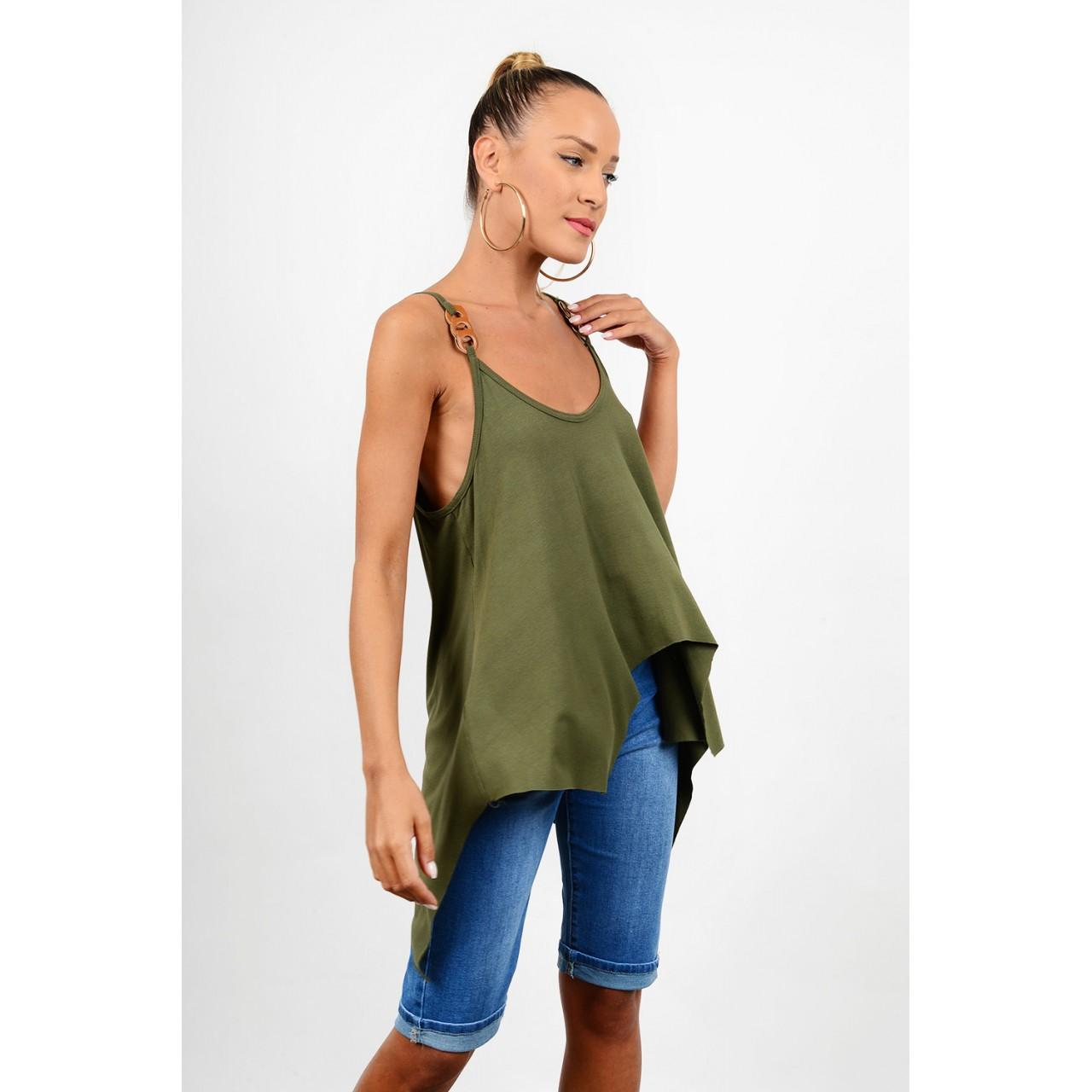 Asymmetrical blouse with straps