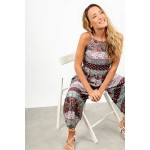 Printed jumpsuit with straps