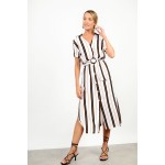 Midi striped dress with belt